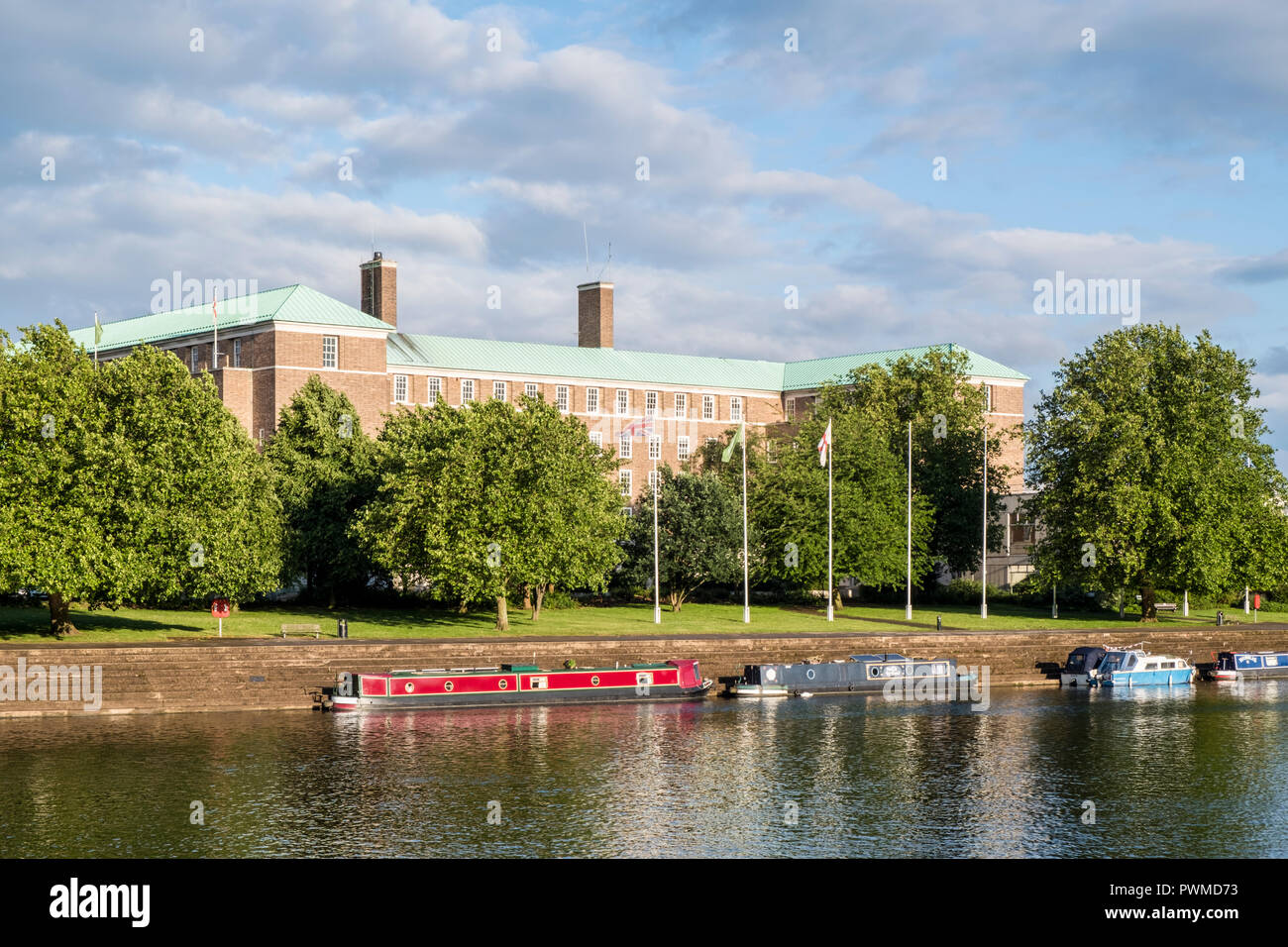 Nottinghamshire County Council offices and headquarters, County Hall, West Bridgford, Nottinghamshire, England, UK, seen from across the River Trent. - Stock Image