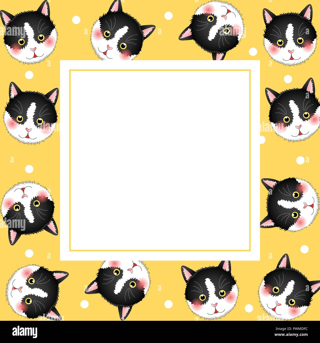 Black White Cat on Yellow Banner Card. Vector Illustration. - Stock Image