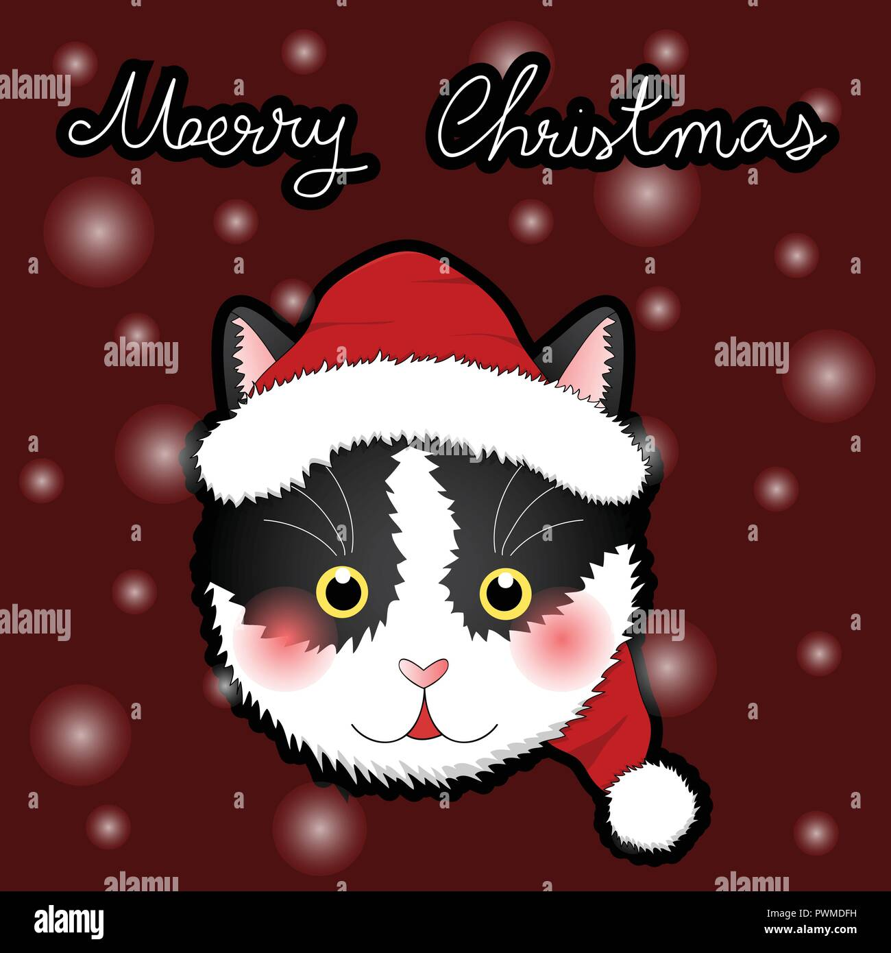 Black White Cat Santa Claus. on Snow Red Greeting Card. Vector Illustration. - Stock Image
