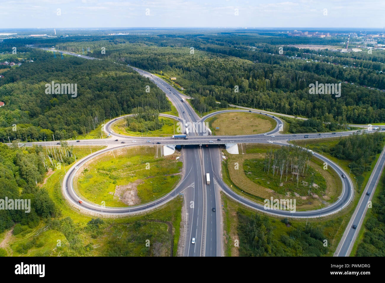Road junction in the Moscow region near the city of Elektrostal. Aerial photography. - Stock Image