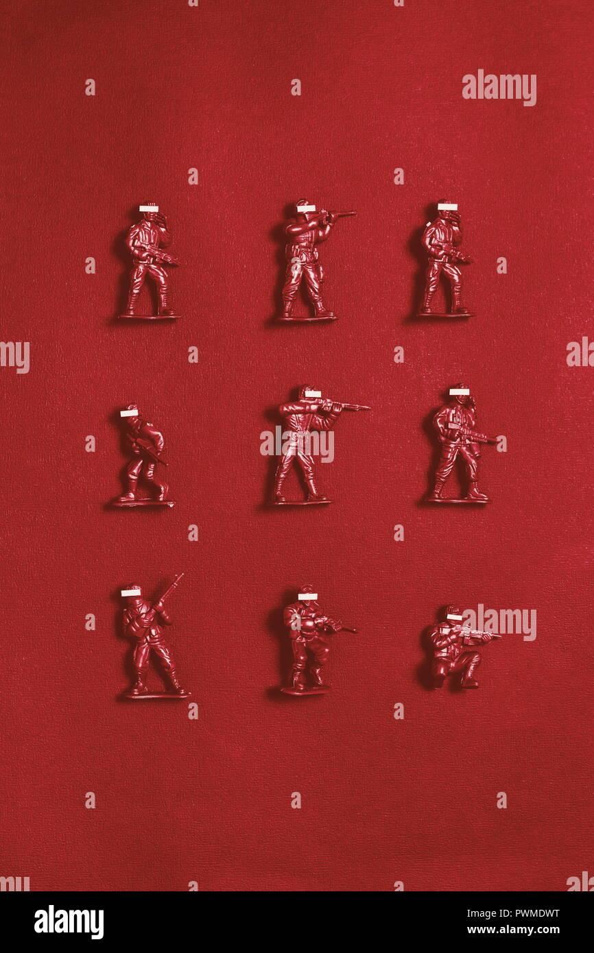 Red army men toy with censored faces - Stock Image