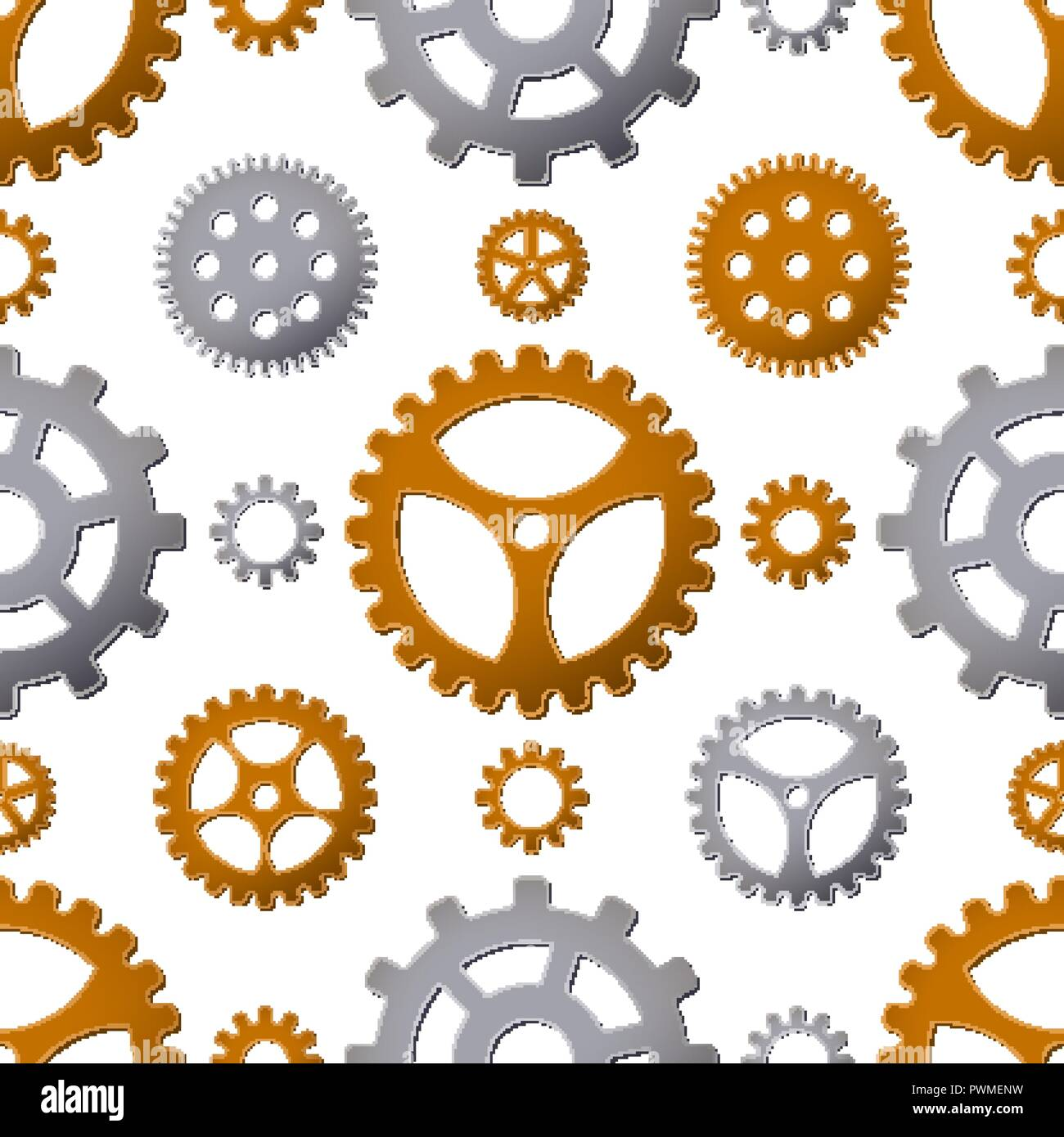 Seamless pattern background with gears. Vector illustration. Industrial mechanism. - Stock Vector