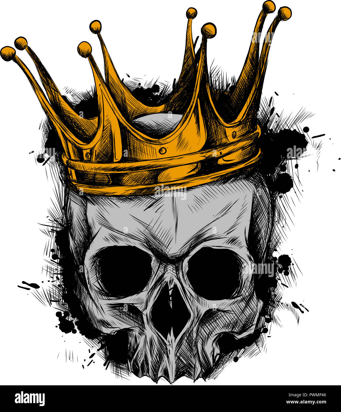 Illustration of black and white skull in crown with beard isolated on white background Stock Photo