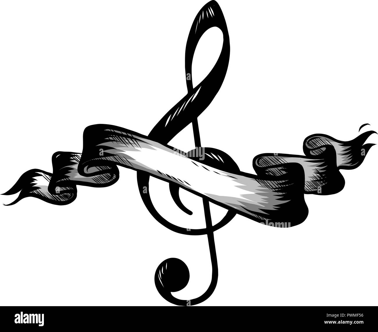 Music notes, song, melody or tune flat  icon for musical apps and websites - Stock Image