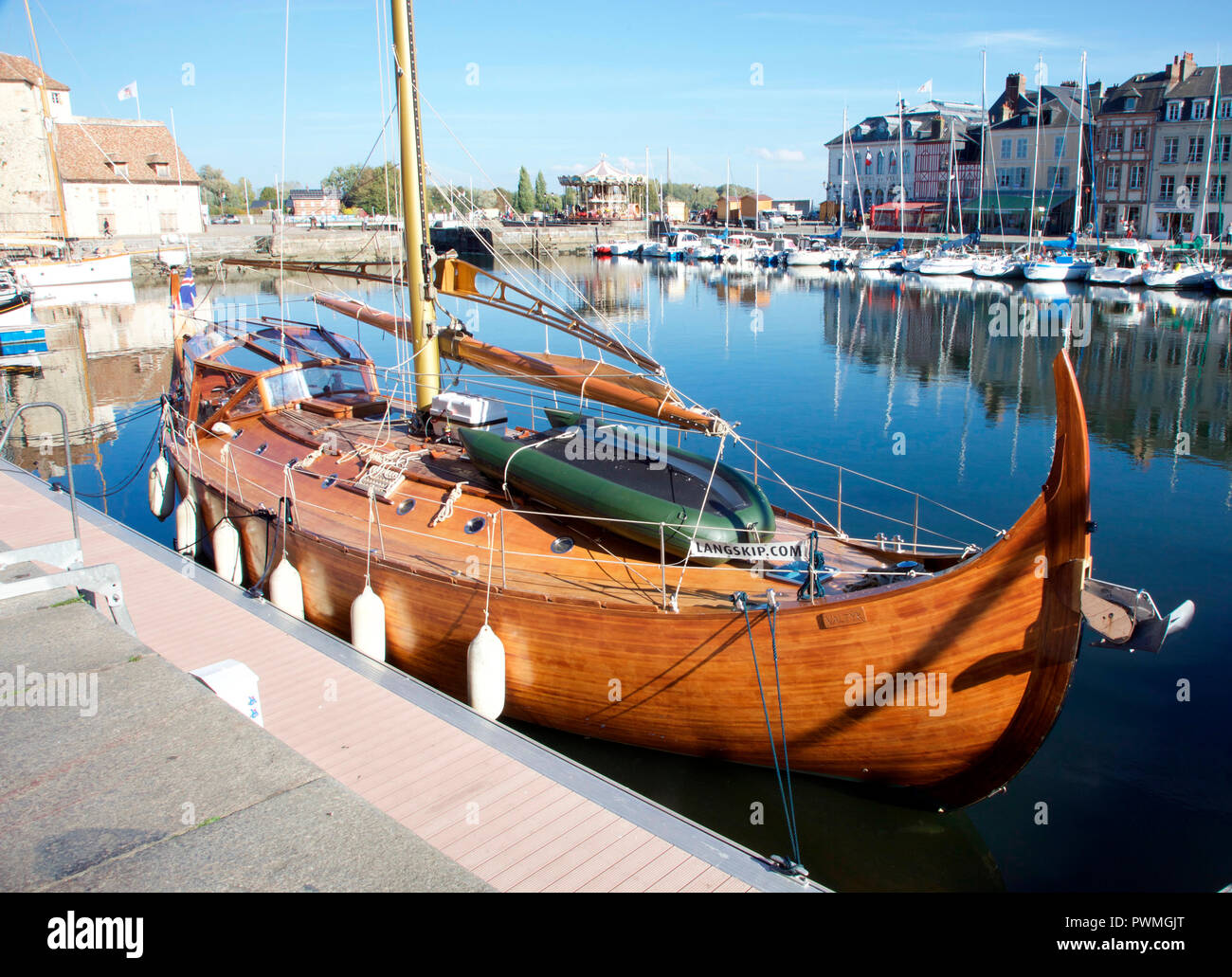 Valtyr, a Viking longboat moored in Honfleur Harbour, Normandy - Stock Image