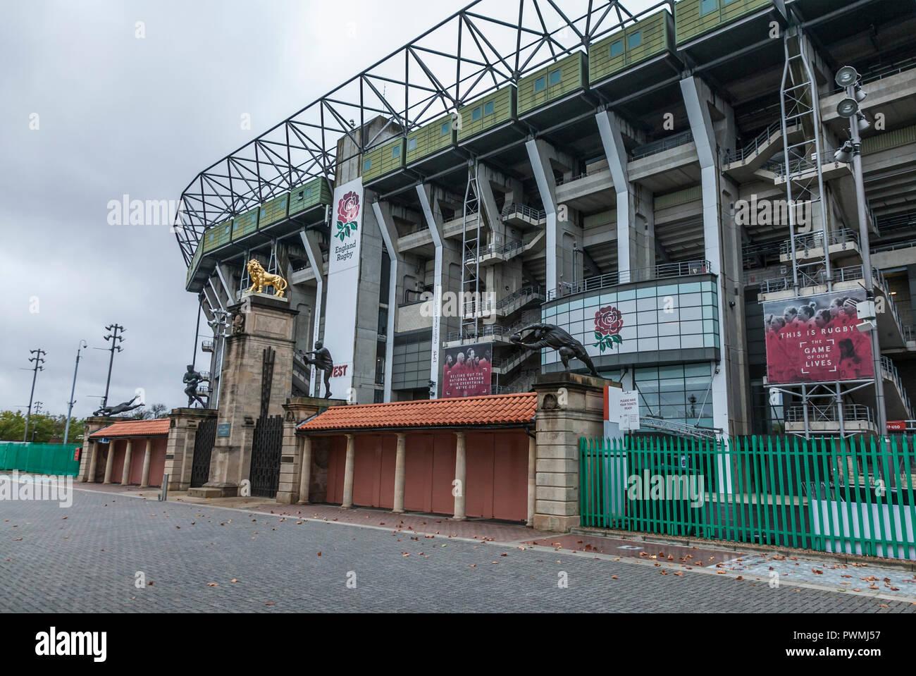 Twickenham Stadium, home of English Rugby, in London,England,UK - Stock Image