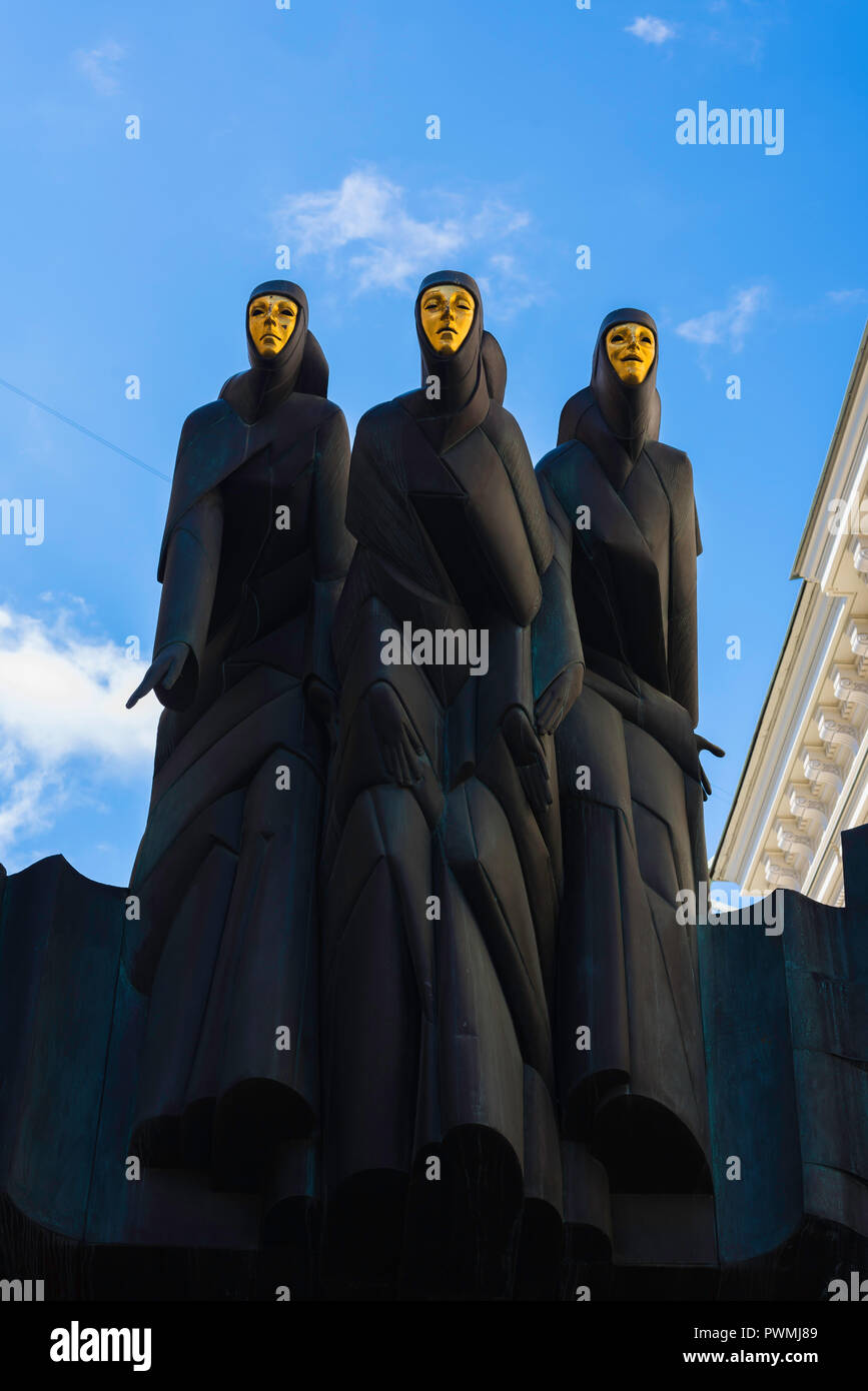 Three Muses Vilnius, view of the Three Muses statue sited above the entrance to the Lithuanian National Drama Theatre, Vilnius, Lithuania. - Stock Image