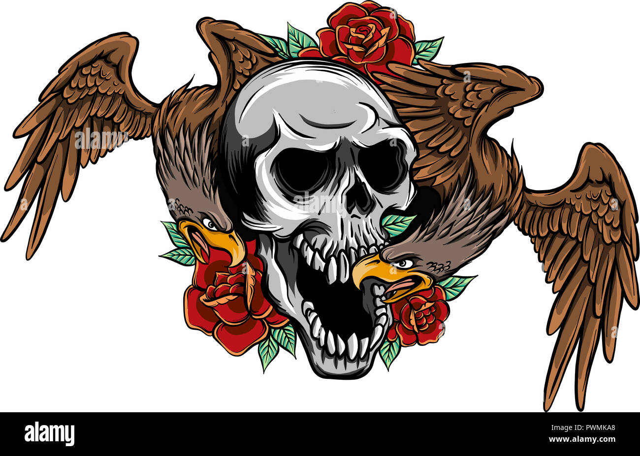 illustration two Eagles and Skull with roses - Stock Image