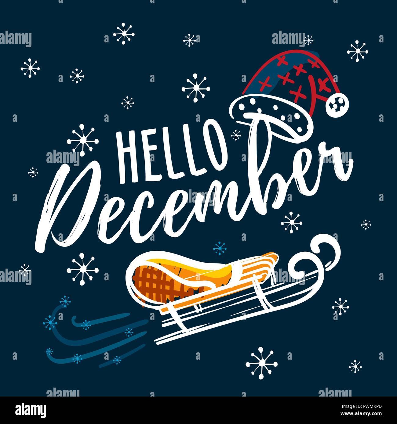 hello hand written quote sleigh and santa claus hat