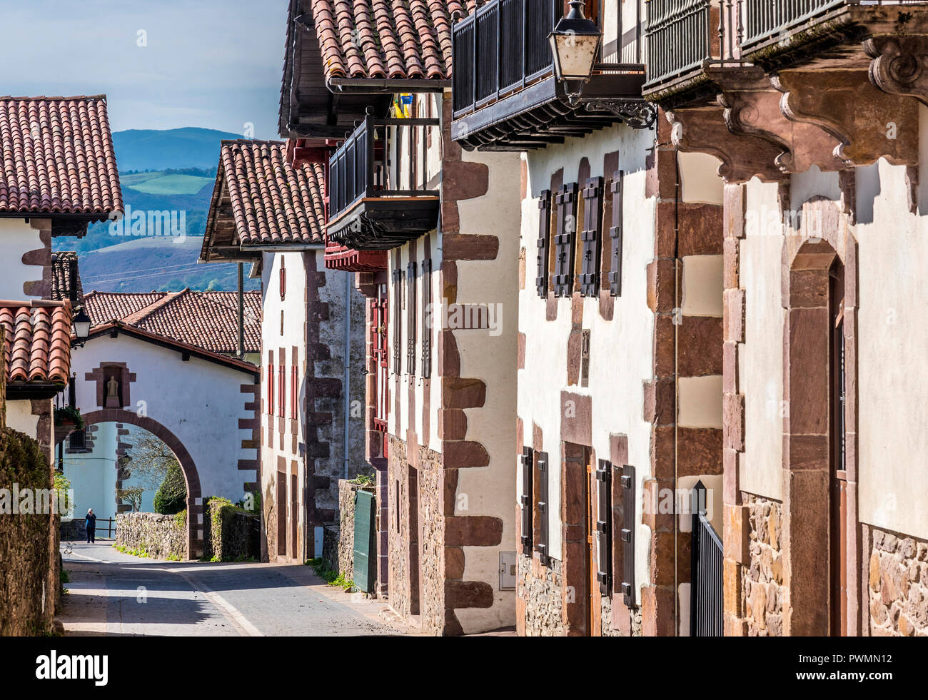 Spain, Navarre, Baztan valley, Amaiur, line of traditional country houses in the main street (Way of Saint James) - Stock Image