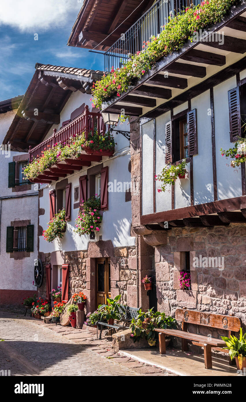 Spain, Basque Country, Baztan valley, Erratzu on the road of the col d'Ispeguy (mountain pass), country houses - Stock Image