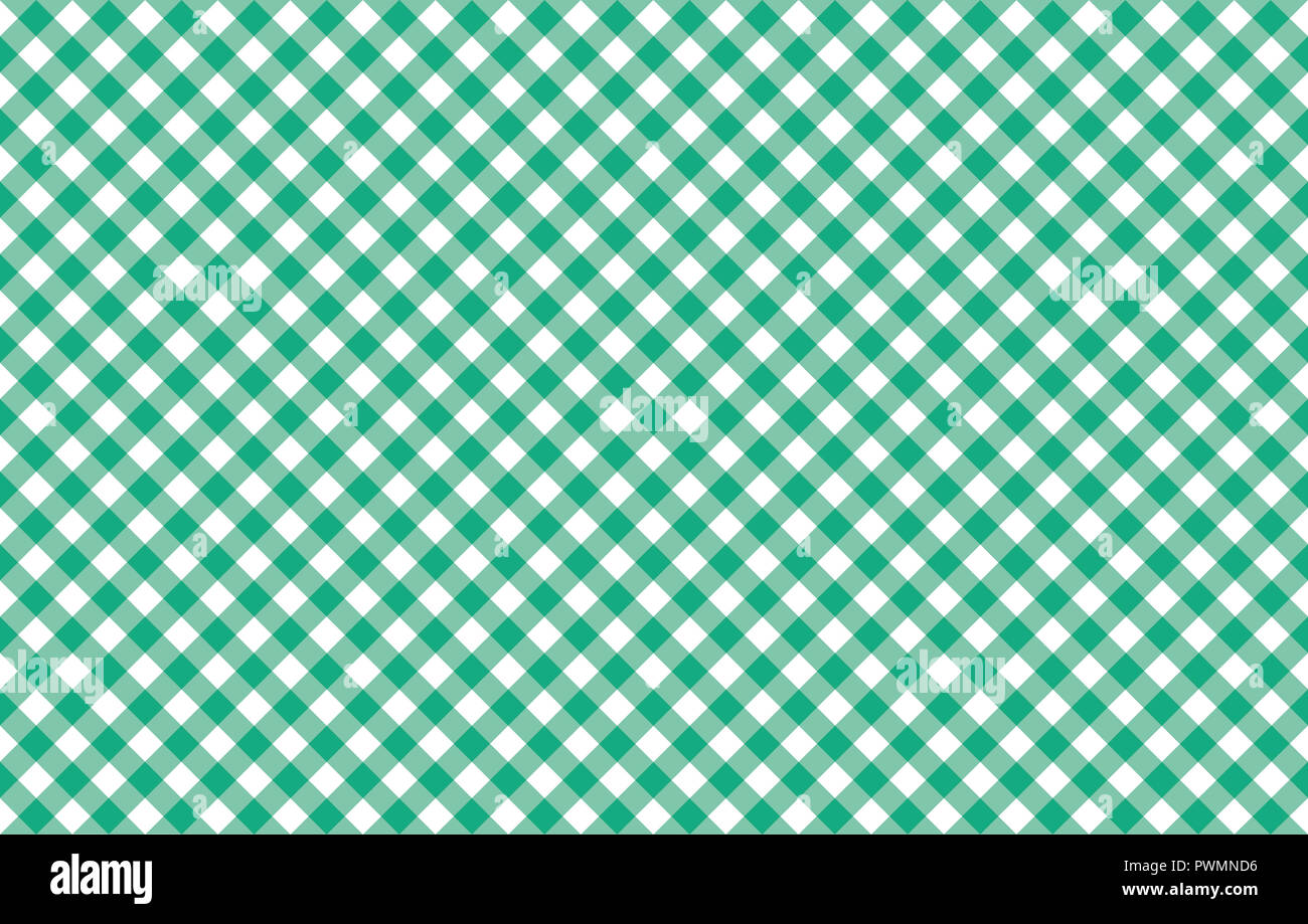 Diagonal Gingham-like table cloth with greenery green and white checks, symmetrical overlapping stripes in a single solid color Stock Photo