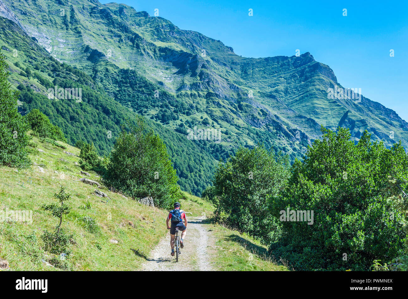 France, Pyrenees National Park, Occitanie region, Val d'Azun, Haute-vallee d'Estaing, cyclist, mountain bike on a track Stock Photo