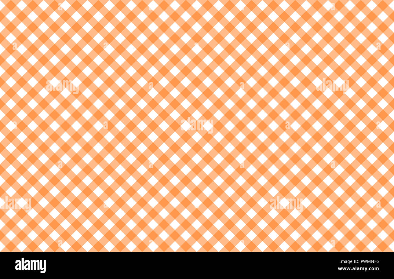 Diagonal Gingham-like table cloth with pumpkin orange and white checks, symmetrical overlapping stripes in a single solid color Stock Photo