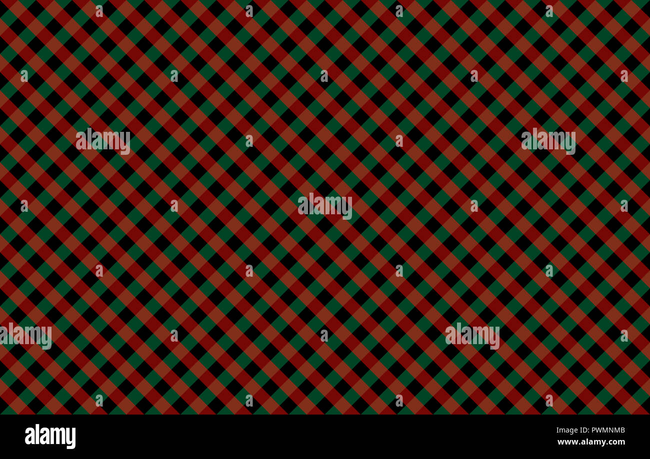 Diagonal Gingham-like pattern with red and green checks. Seamless design of symmetrical overlapping stripes in a two colors against solid background Stock Photo
