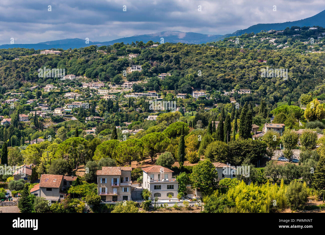 France, Provence-Alpes-Cote-d'Azur, Alpes-Maritimes, overall view of Saint-Paul-de-Vence (Plus Beaux Villages de France, list of villages designated as les plus beaux (the most beautiful) in France) - Stock Image