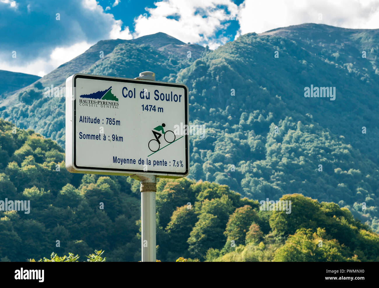 France, Pyrenees National Park, Val d'Azun, col du Soulor (mountain pass), sign showing the difference in altitude between the bottom and the peak for the cyclists Stock Photo
