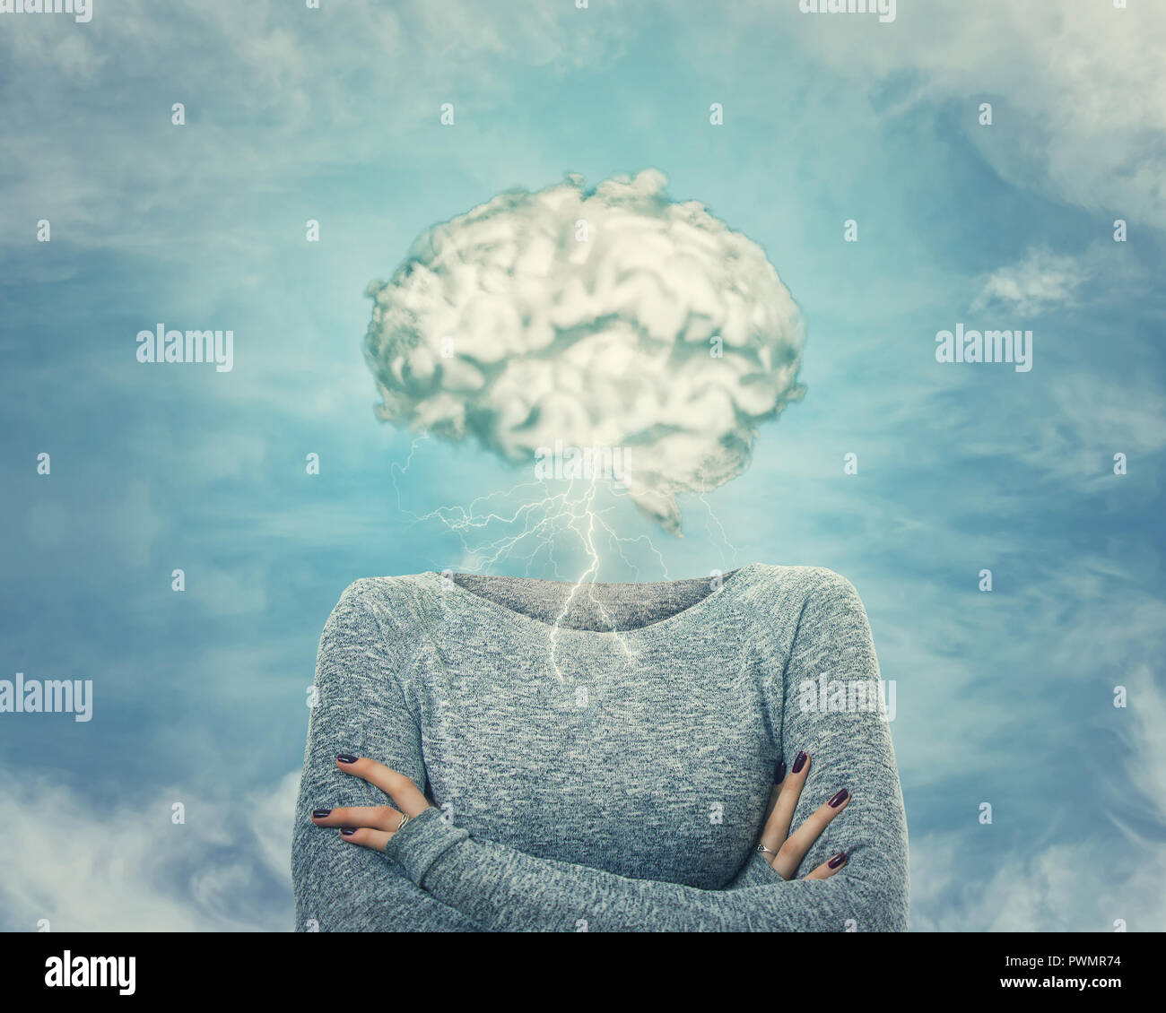 Brainstorm concept as woman has invisible face and cloud shaped brain instead of head. Incognito introvert hide identity. Head in the clouds person so - Stock Image