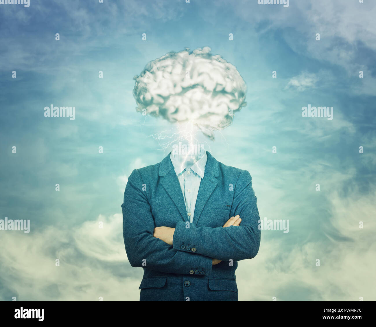 Brainstorm concept as man has invisible face and cloud shaped brain instead of head. Incognito introvert hiden identity. Head in the clouds person soc - Stock Image