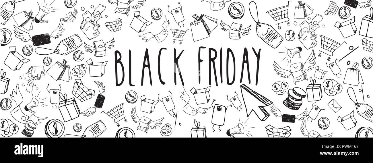 Black friday large banner full vector doodles - Stock Image