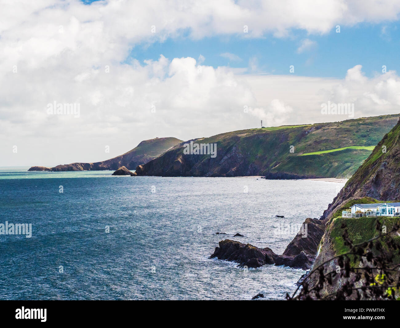 View from the coastal path from Tresaith on the Welsh coast in Ceredigion. - Stock Image