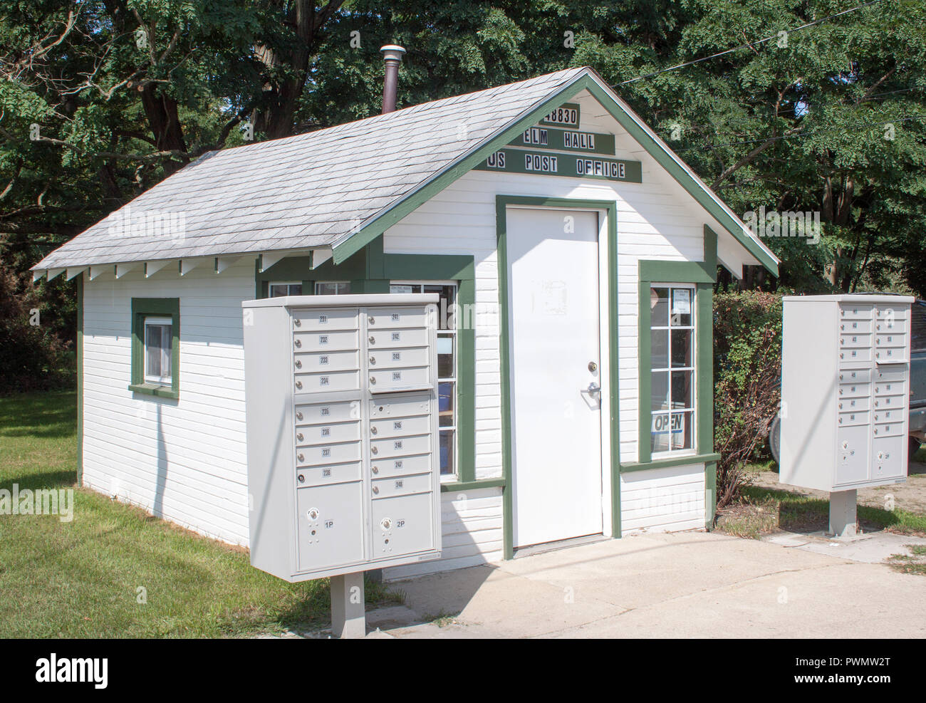 Michigan's smallest post office in Elm Hall, Michigan - Stock Image