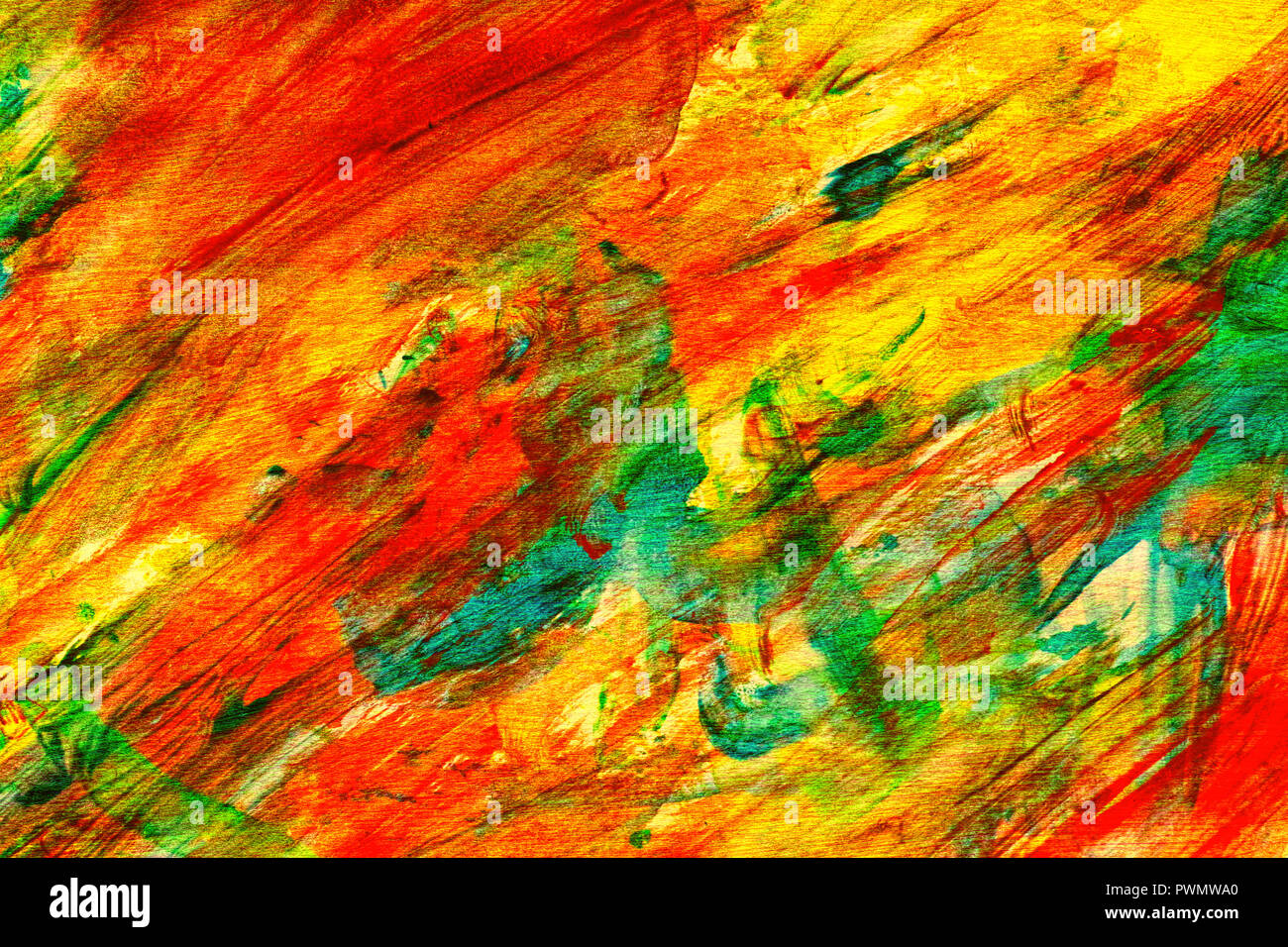 Hand Painted Abstract Orange Yellow Blue Brown Wet Wash