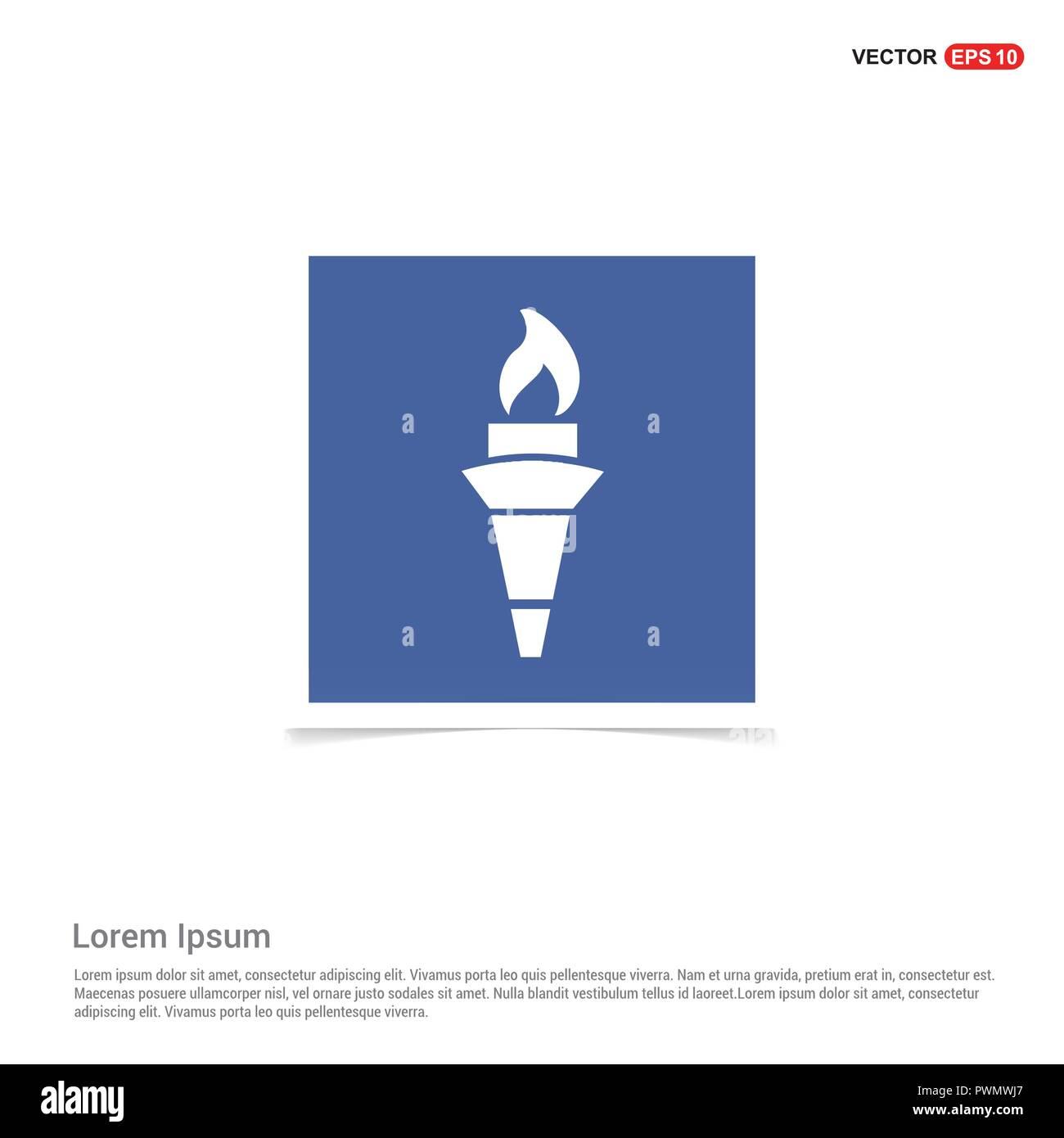 Olympic Torch Icon - Blue photo Frame - Stock Vector
