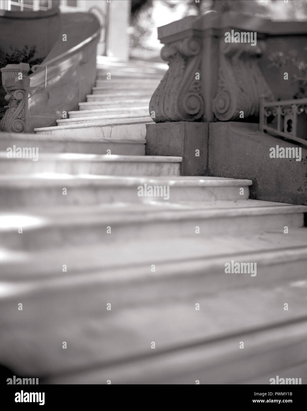High angle view of steps on a winding staircase. Stock Photo