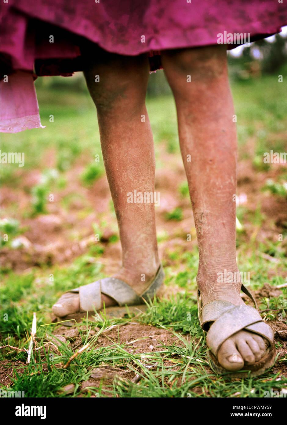 Peruvian girl's legs - Stock Image
