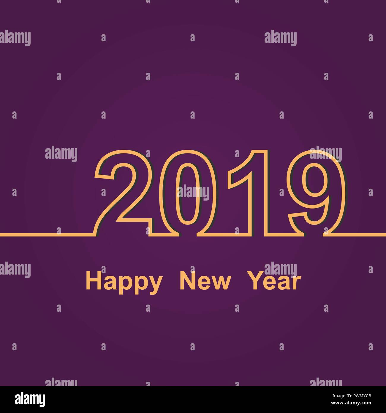 2019 happy new year on purple background stock vector