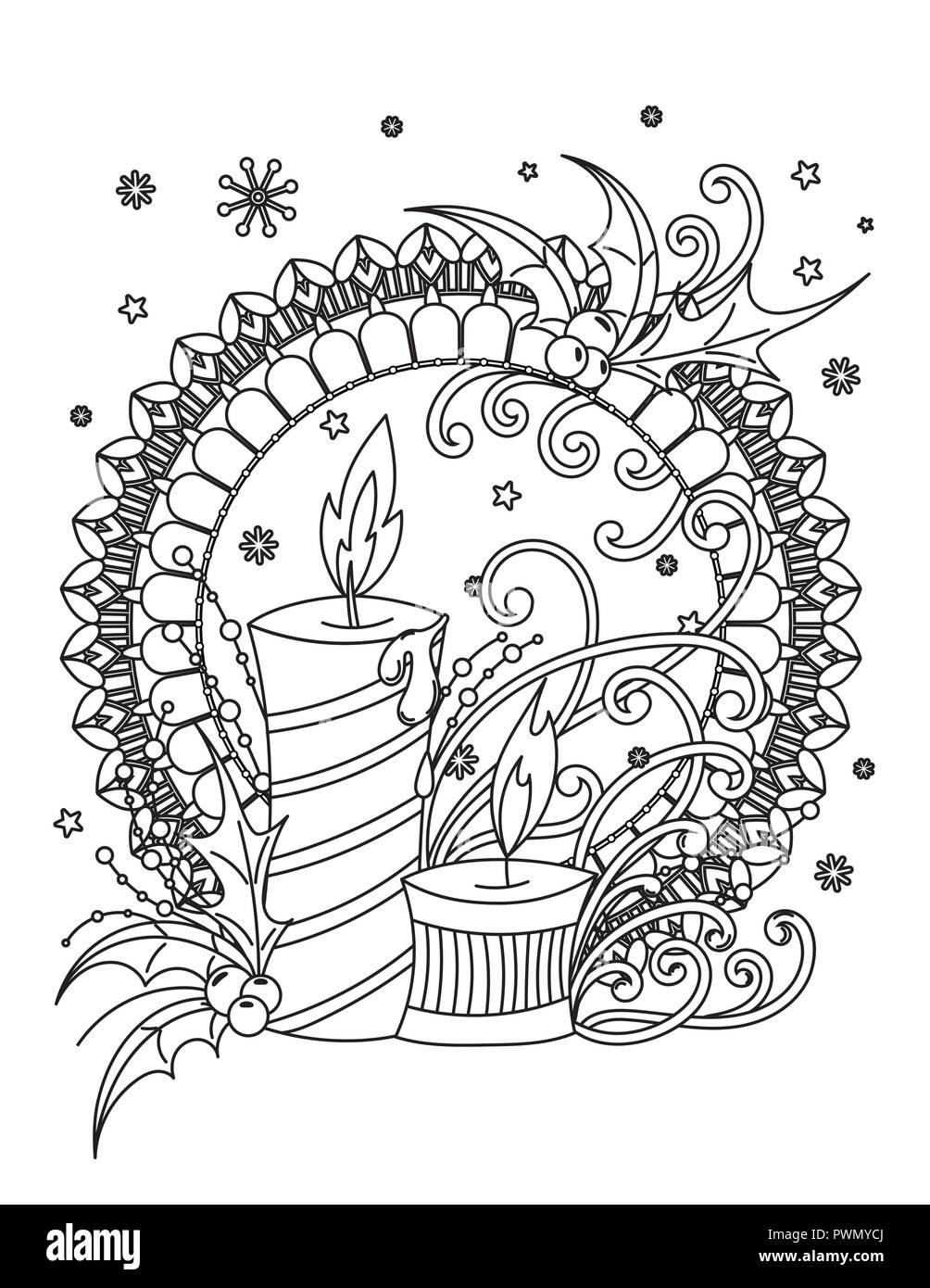 christmas mandala coloring page adult coloring book holiday decor candales hilly barries ribbons and snowflakes hand drawn vector illustration