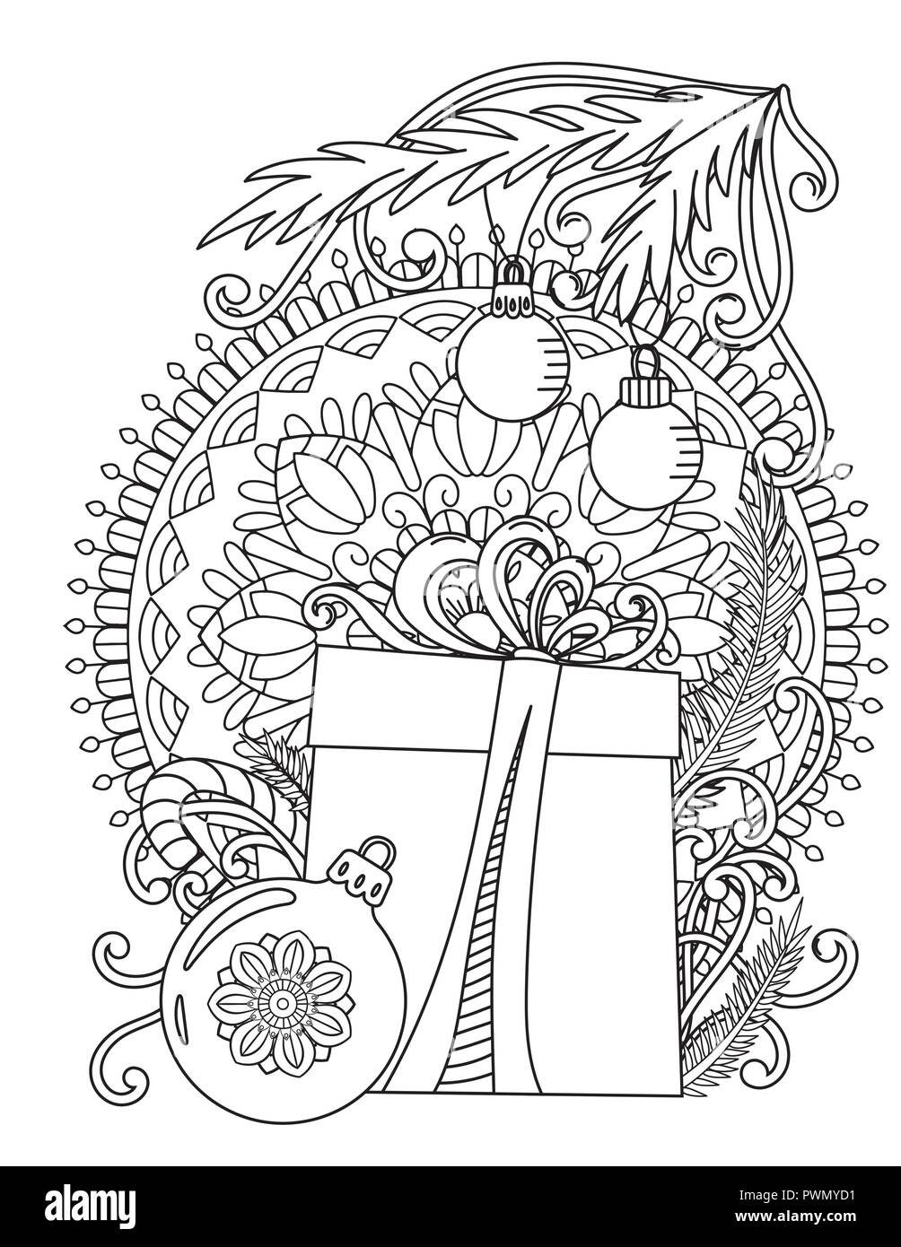 christmas mandala coloring page adult coloring book holiday gift balls and ribbons hand drawn vector illustration