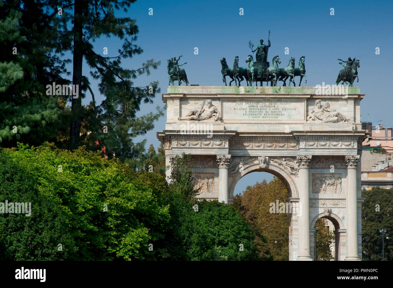 Italy, Lombardy, Milan, Arco della Pace, Arch of Peace, Triumphal Arch by Luigi Cagnola - Stock Image