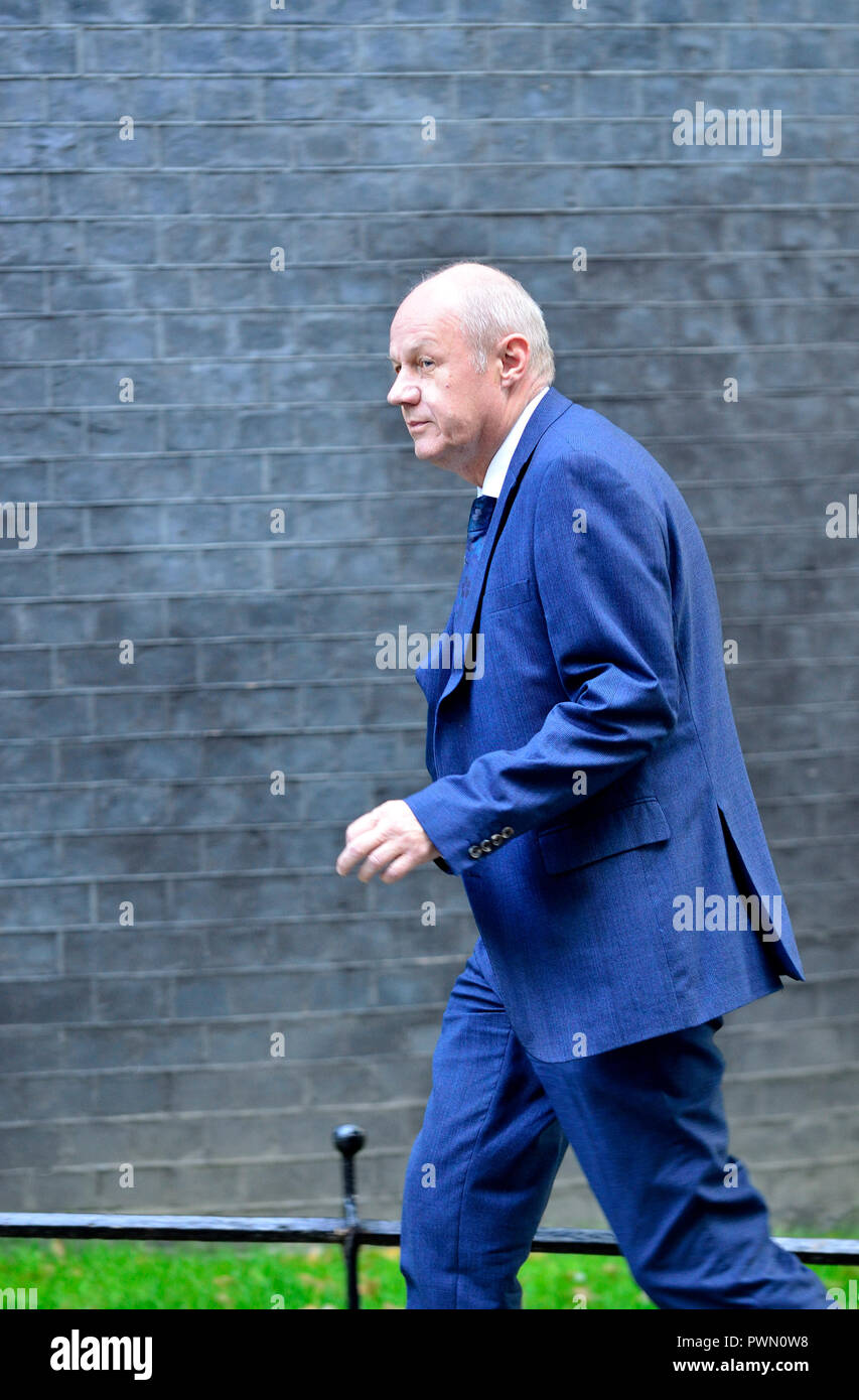 Damian Green MP, ariving towards the end of a lengthy cabinet meeting to discus Brexit, Downing Street 16th October 2018 - Stock Image