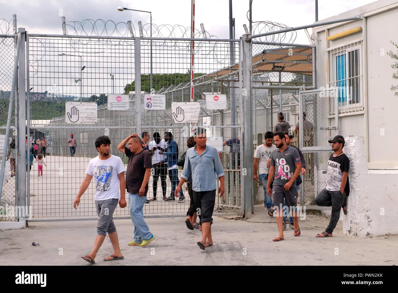 MORIA CAMP for refugees who came by boat from nearby Turkey to the iIsland of Lesbos, Greece, May 2018 - MORIA CAMP für Flüchtlinge, die mit einem Boot vom der nahen Türkei herübergekommen sind. Insel Lesbos, Griechenland, Mai 2018 - Stock Image