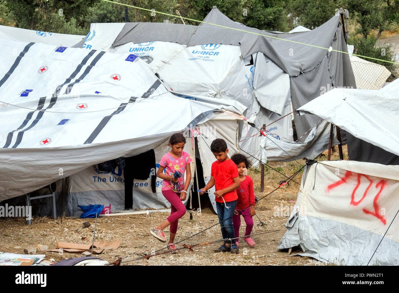 Tent camp next to the camp MORIA-CAMP for refugees who came over by boats from nearby Turkey. Island of Lesbos, Greece, May 2018 - Stock Image