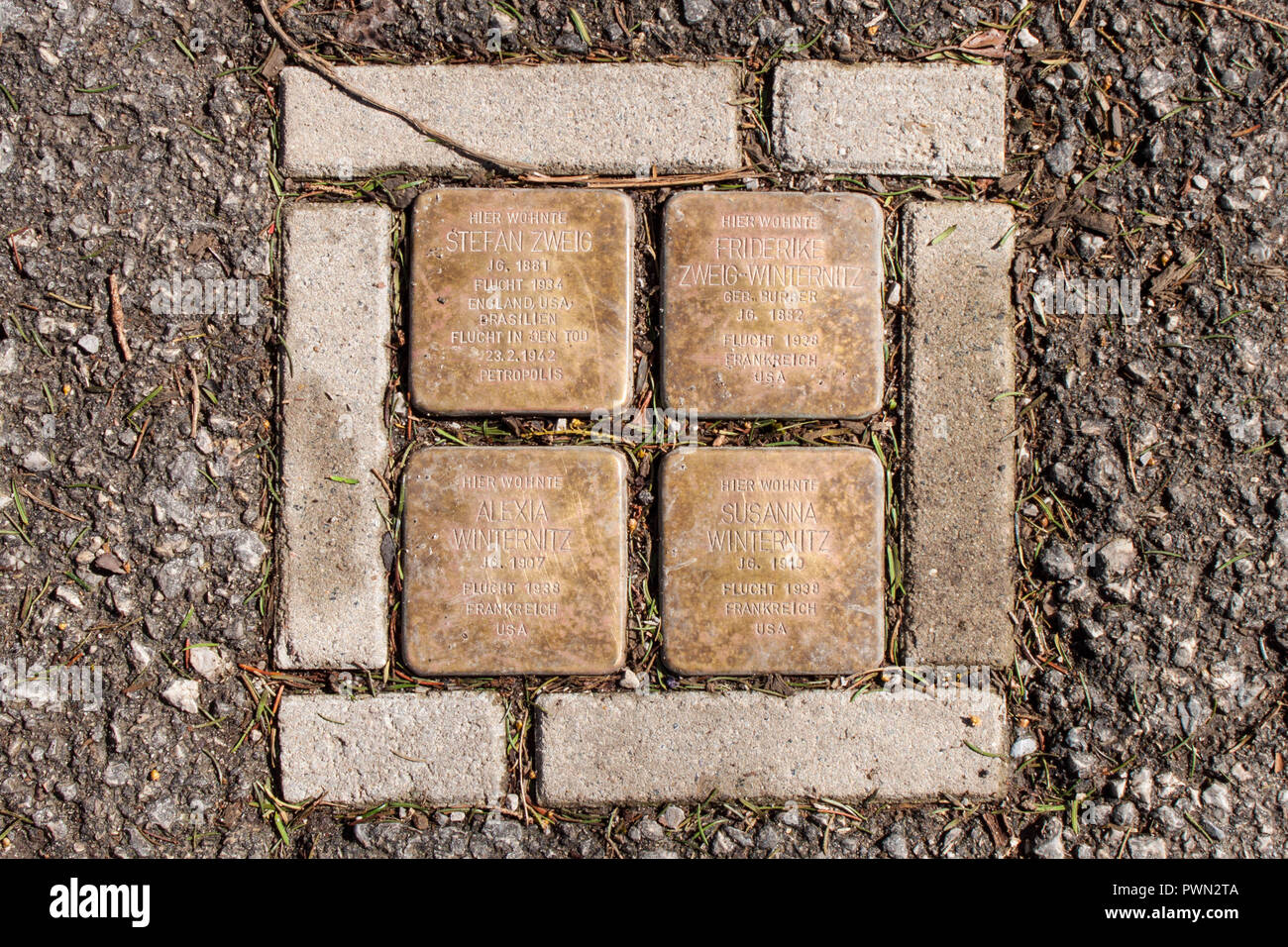 Salzburg, Austria - April 6, 2018: Stolperstein ('stumbling stones') on Kapuzinerberg commemorating austrian author Stefan Zweig and his family. - Stock Image