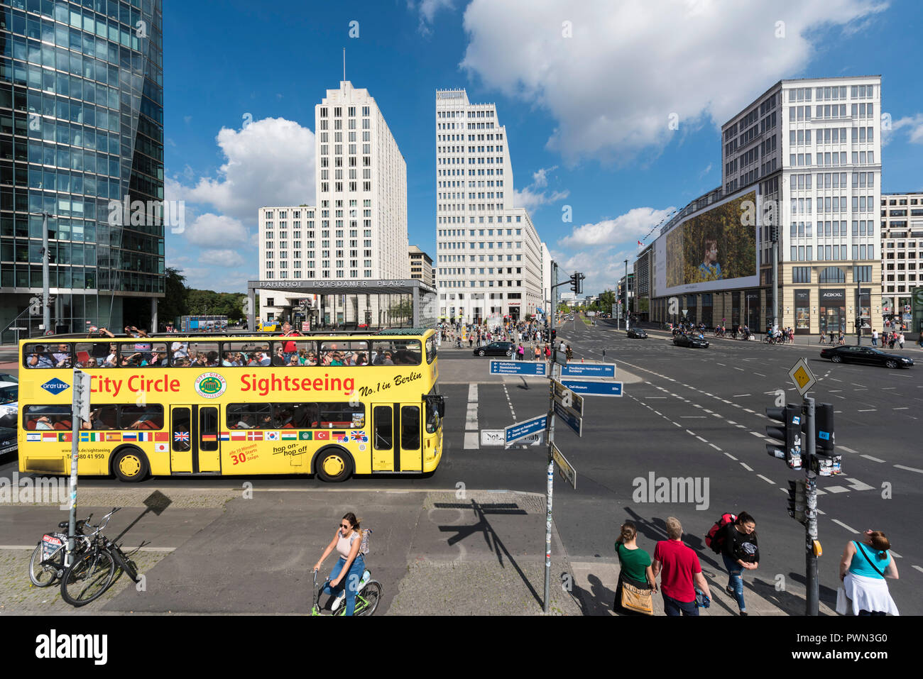 Berlin. Germany. Yellow City Circle Sightseeing bus on Potsdamer Platz. Elevated view. - Stock Image