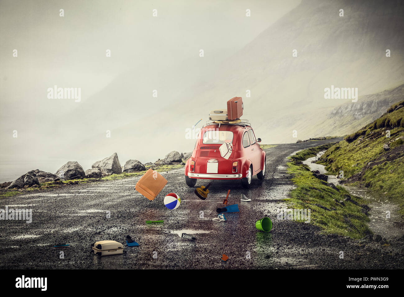 red little car with summer beach stuff on lonely road bad weather 3d rendering image - Stock Image