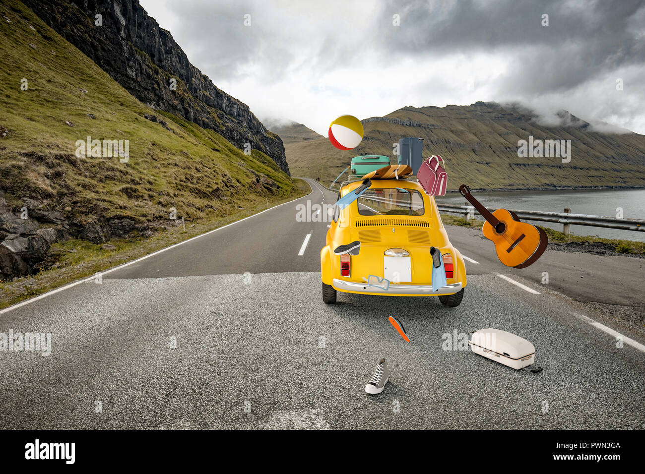 old fashion car and falling beach stuff on lonely road 3d rendering image - Stock Image