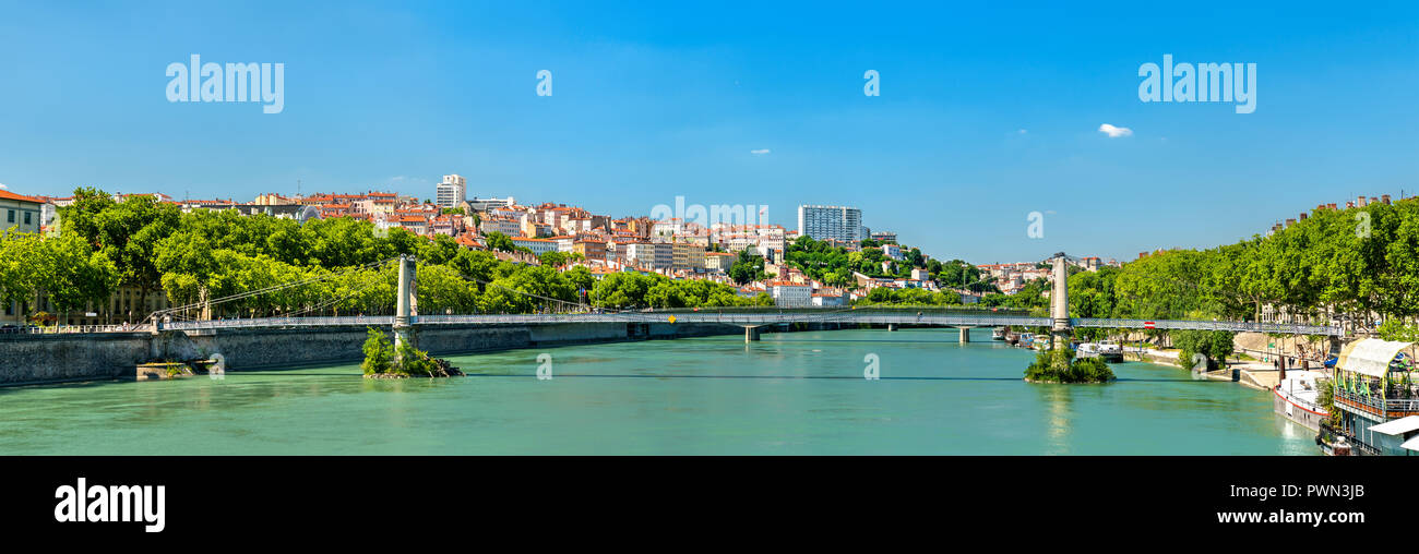 Panorama of Lyon above the Rhone River in France - Stock Image
