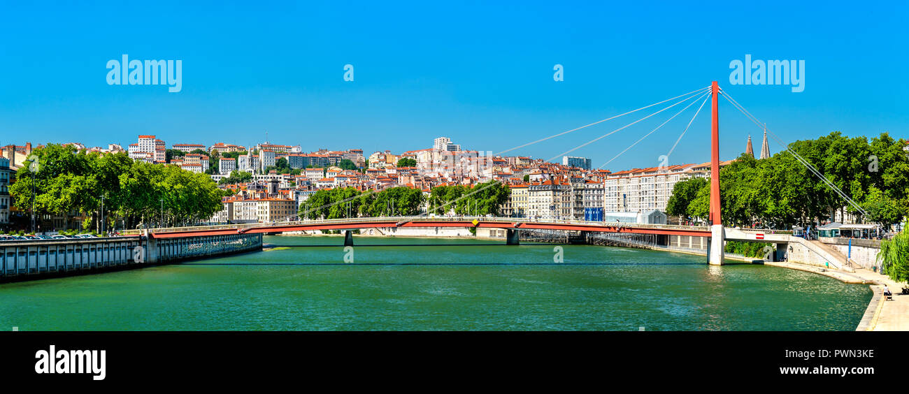 Panorama of Lyon above the Saone River in France - Stock Image