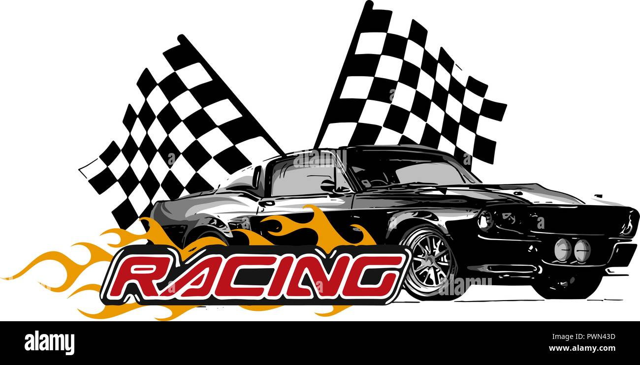 Vector Illustration Muscle Car With Flames And Race Flag Stock