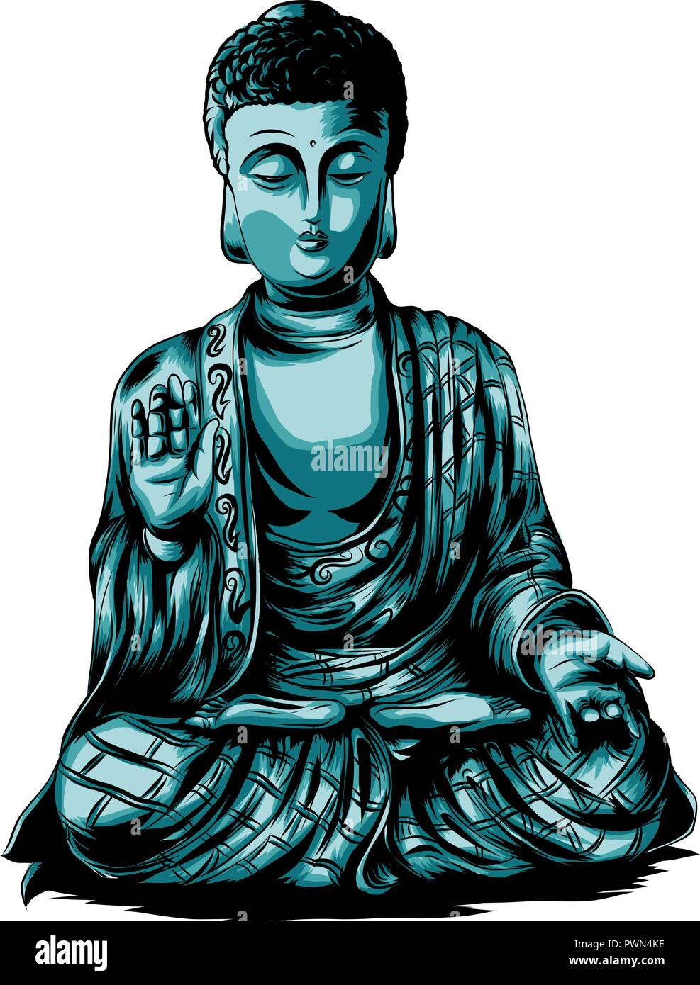 Vector sketch illustration with buddha. Drawing by hand. Boho style. Use for posters, postcards, print for t-shirt, tattoo. - Stock Vector