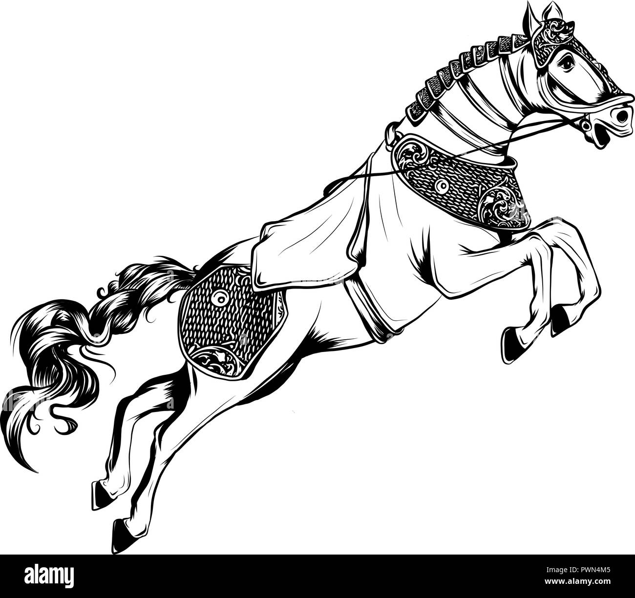 Vector Illustration Of Silhouette Of The Running Horse In White Background Stock Vector Image Art Alamy