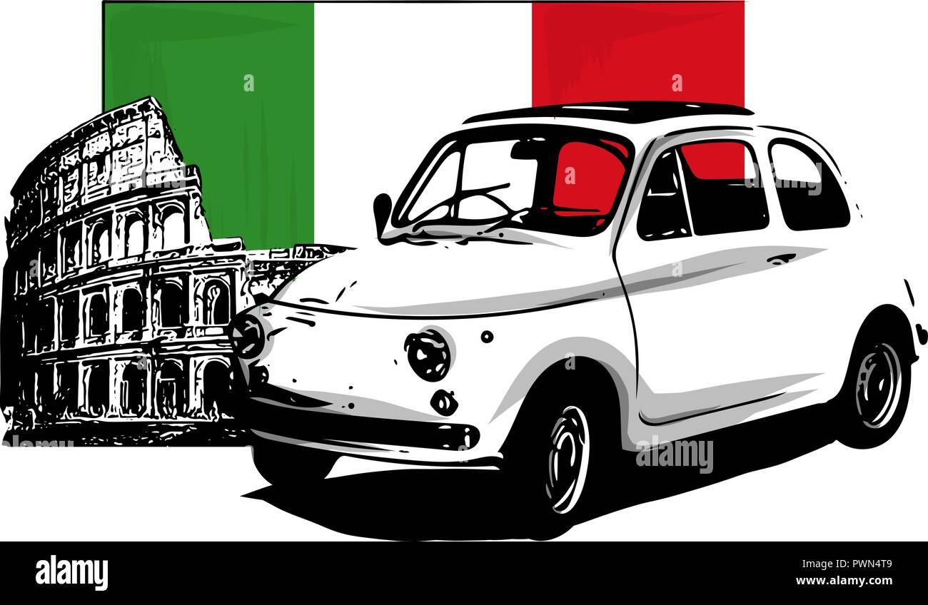 60s vintage italian car isolated on white background - Stock Image