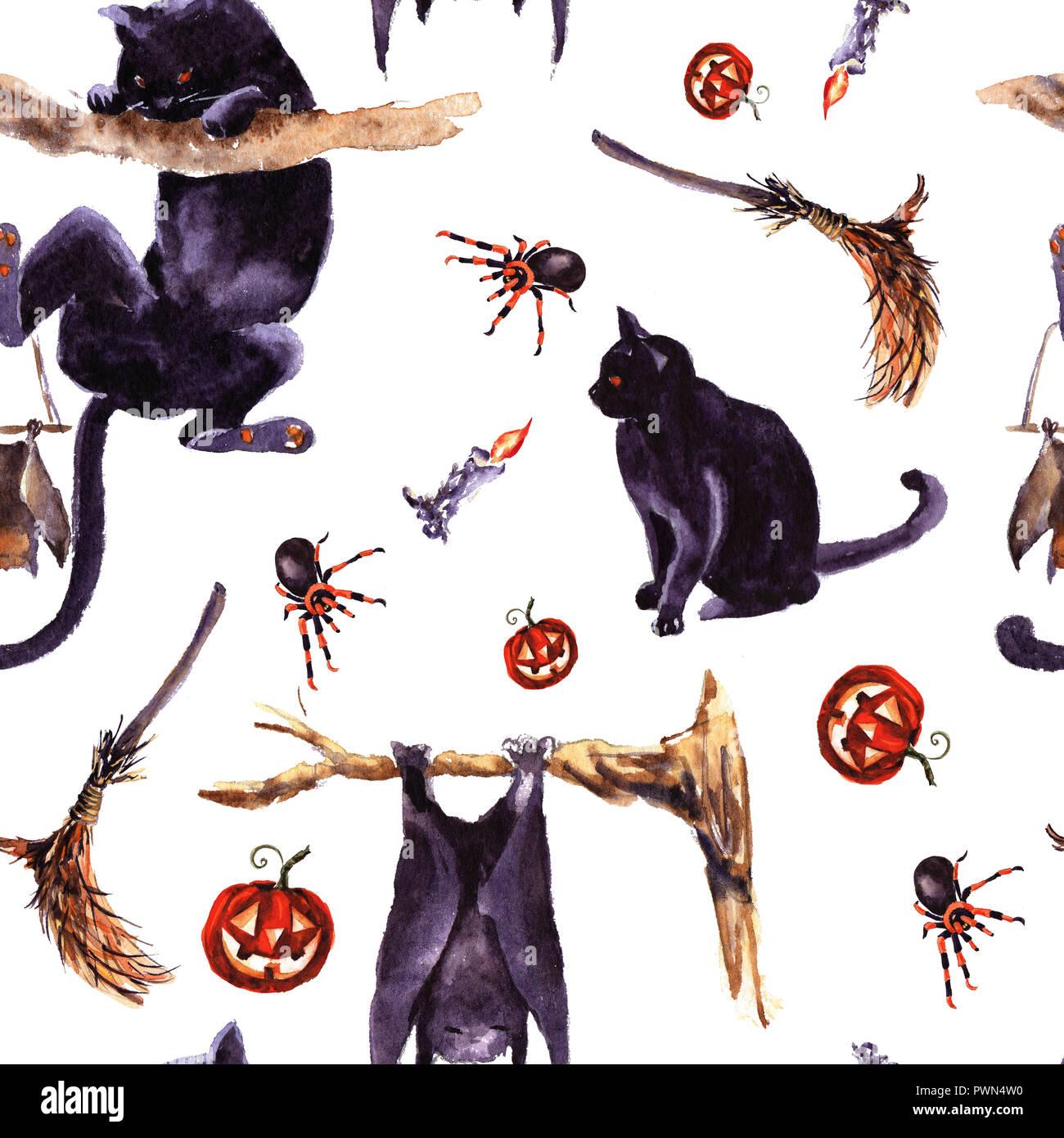 Halloween Seamless Pattern Holiday Symbol Hand Drawn Watercolor