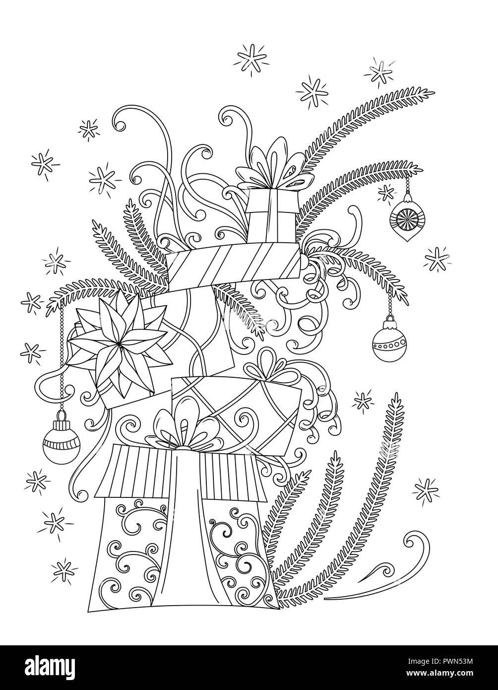 Christmas Coloring Pages Coloring Book For Adults Pile Of Holiday
