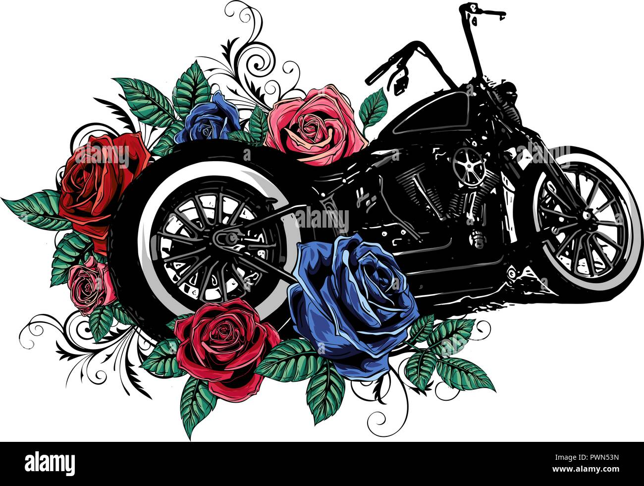 vector illustation vintage chopper motorcycle and roses poster - Stock Image